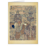 Second month year of the bull by Ishikawa,Toyomasa Greeting Card