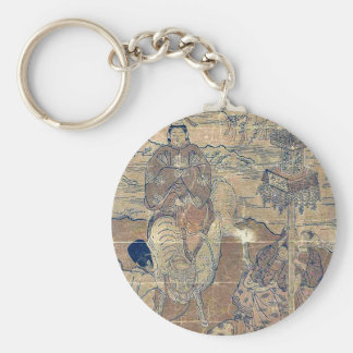Second month year of the bull by Ishikawa,Toyomasa Key Chain