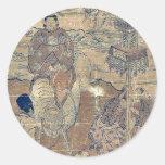 Second month year of the bull by Ishikawa,Toyomasa Round Sticker