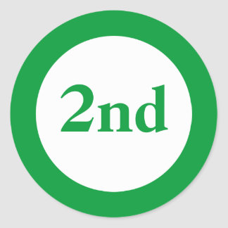 Second Place Award Green Classic Round Sticker