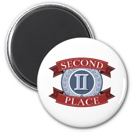 Second place badge or medal magnets
