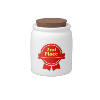 Second Place Red & Gold Ribbon Candy Jar