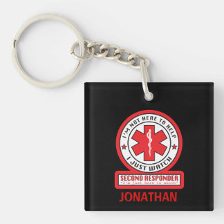 Second Responder Square Keychain