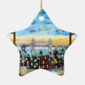 Second star to the right. Peter Pan inspired art Ceramic Ornament