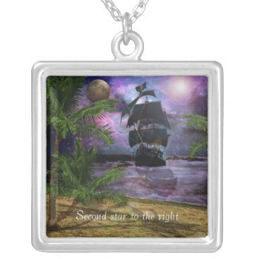 Beach Themed Second Star to the right Silver Plated Necklace