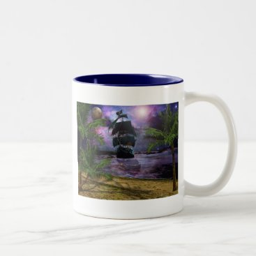 Beach Themed Second star to the right.. Two-Tone coffee mug