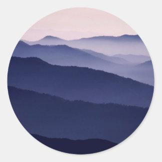 Secoya púrpura de la majestad del bosque pegatinas redondas