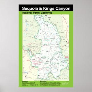 Secoya y poster grande del parque nacional de reye