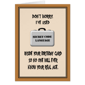 Secret 60th Birthday Humor Greeting Card