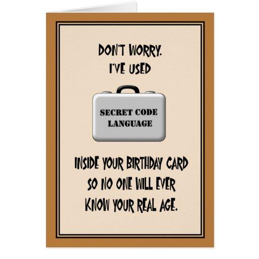 Secret 60th Birthday Humor Greeting Cards