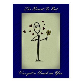 Secret Admirer Crush, Love, Hearts and Flower Postcard