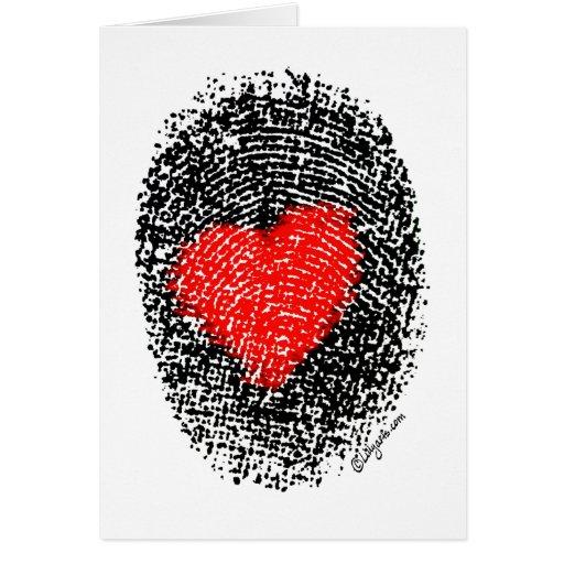 Secret Admirer Heart Fingerprint Love Greeting Cards