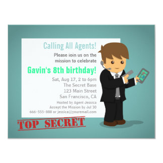 Secret Agent Birthday Party Blue Card