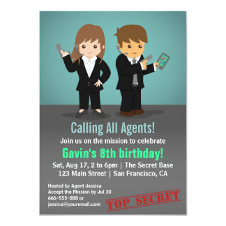 Secret Agent Birthday Party Card
