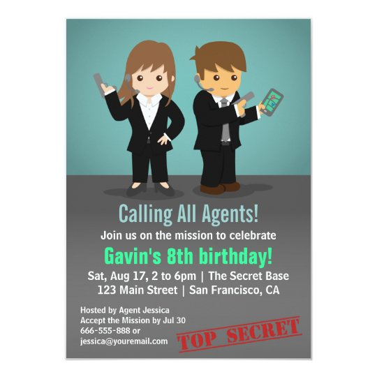 Secret agent birthday party invitation zazzle secret agent birthday party invitation filmwisefo