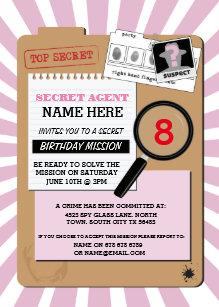 Detective invitations zazzle secret agent detective crime spy birthday party invitation filmwisefo