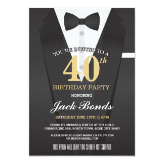 SECRET AGENT DETECTIVE TUXEDO SPY BIRTHDAY PARTY CARD