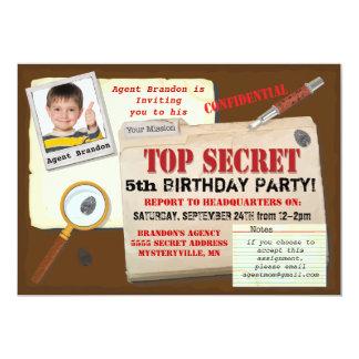 Secret Agent Spy Top Secret Birthday Party Invite