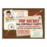 "Secret Agent Spy Top Secret Birthday Party Invite 5"" X 7"" Invitation Card"
