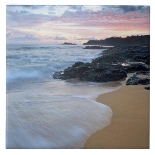 Secret Beach at dawn Large Square Tile