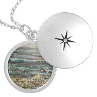 Secret beach round locket necklace