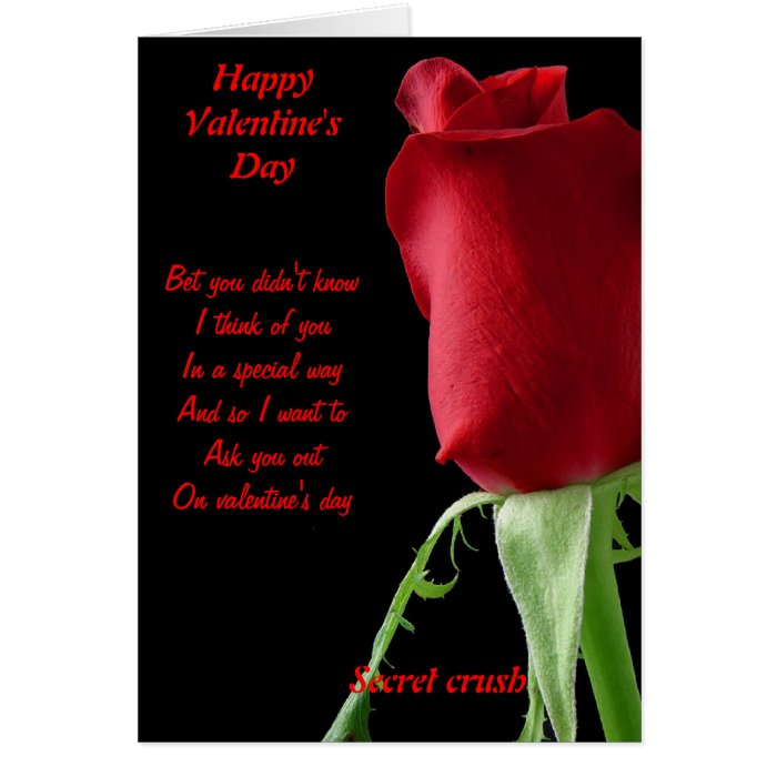 Secret crush valentine's day card