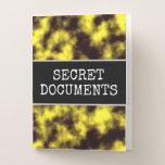 "[ Thumbnail: ""Secret Documents"" + Black & Yellow Fog Pattern Pocket Folder ]"