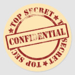 Secret Files Confidential Stickers Round Sticker