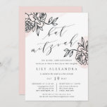 """Secret Garden Bat Mitzvah Invitation<br><div class=""""desc"""">Simple and elegant bat mitzvah invitation chic off-black modern calligraphy lettering, flanked by vintage style floral outline illustrations on a sheer wash of blush pink watercolor. Personalize with your bat mitzvah ceremony and party details beneath. Bat mitzvah invitations reverse to solid blush pink. Customize the paper type or shape to...</div>"""