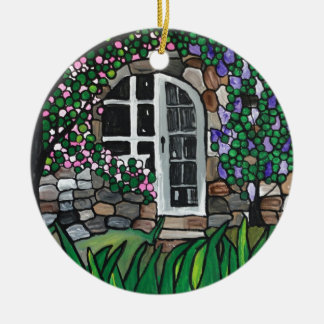 Secret garden door ceramic ornament