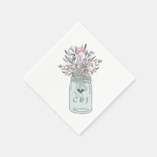 Secret Garden Mason Jar Custom Paper Napkins