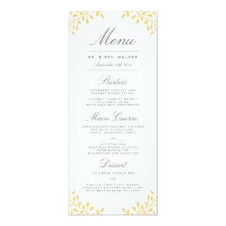 Secret Garden Wedding Dinner Menu - Mustard Yellow Card