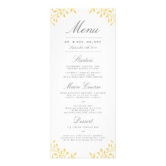 Secret Garden Wedding Dinner Menu - Mustard Yellow Invitation