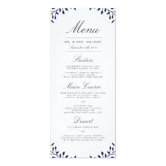 Secret Garden Wedding Dinner Menu - Navy Card