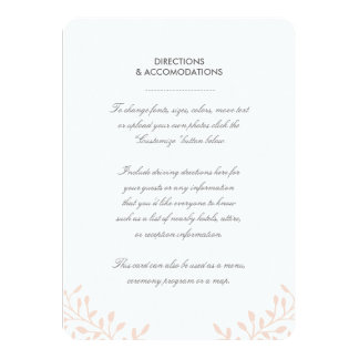 "Secret Garden Wedding Insert Card 4.5"" X 6.25"" Invitation Card"