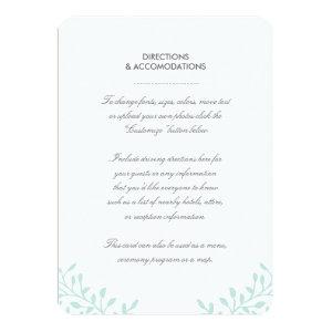 Secret Garden Wedding Insert Card - Mint 4.5