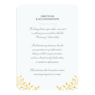 "Secret Garden Wedding Insert Card - Mustard 4.5"" X 6.25"" Invitation Card"
