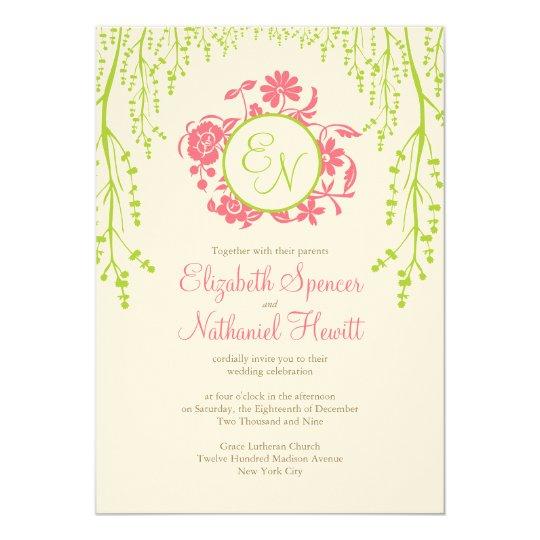Secret Garden Wedding Invitation Pink Green
