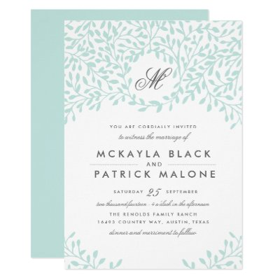 Secret Garden Wedding Invitation Pink Green