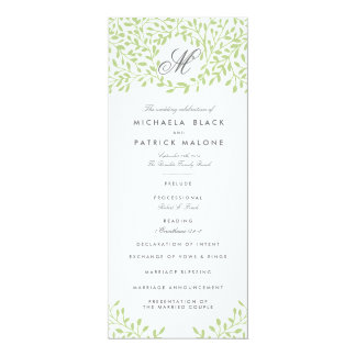 Secret Garden Wedding Programs - Green