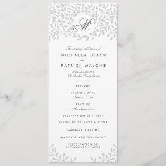 Secret Garden Wedding Programs - Grey