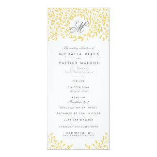 Secret Garden Wedding Programs - Mustard Yellow Card