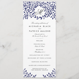 Secret Garden Wedding Programs - Navy