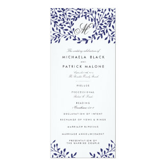 Secret Garden Wedding Programs - Navy 4x9.25 Paper Invitation Card