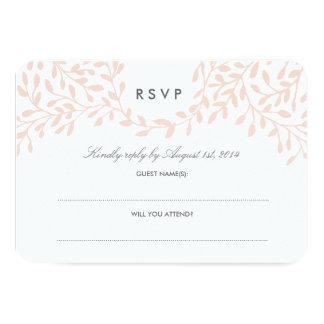 Secret Garden Wedding RSVP - Blush 3.5x5 Paper Invitation Card