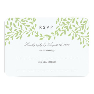 Secret Garden Wedding RSVP - Green 3.5x5 Paper Invitation Card