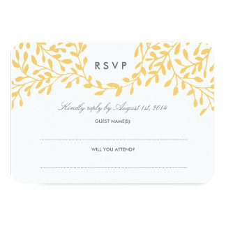 "Secret Garden Wedding RSVP - Mustard 3.5"" X 5"" Invitation Card"