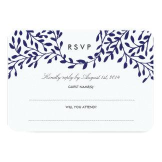 Secret Garden Wedding RSVP - Navy 3.5x5 Paper Invitation Card