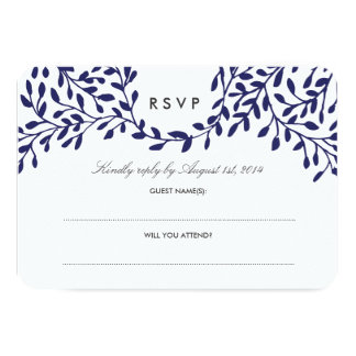 Secret Garden Wedding RSVP - Navy Card