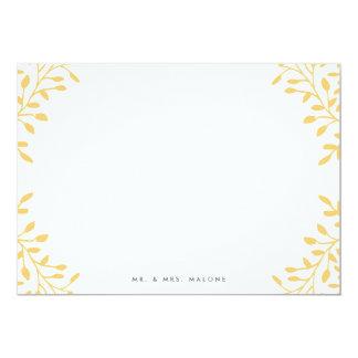 "Secret Garden Wedding Stationery - Mustard Yellow 5"" X 7"" Invitation Card"